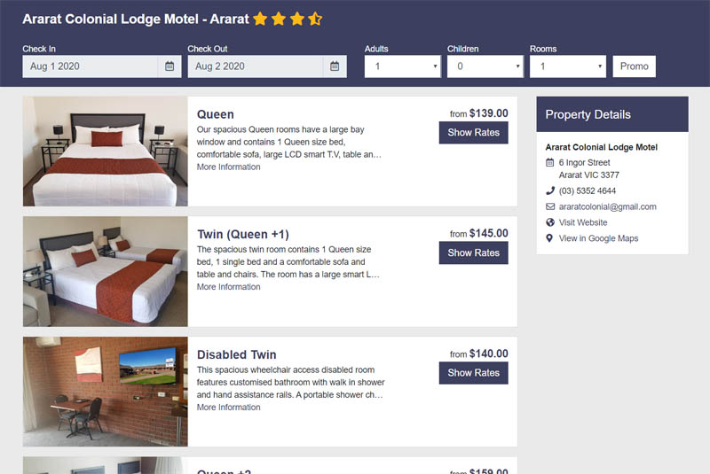 Book Accommodation online at Ararat Colonial Lodge Motel